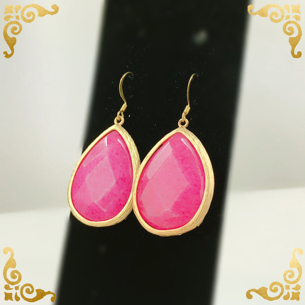Pink Jade Tear Drop Earring - Simulated Glass - PitaPats.com