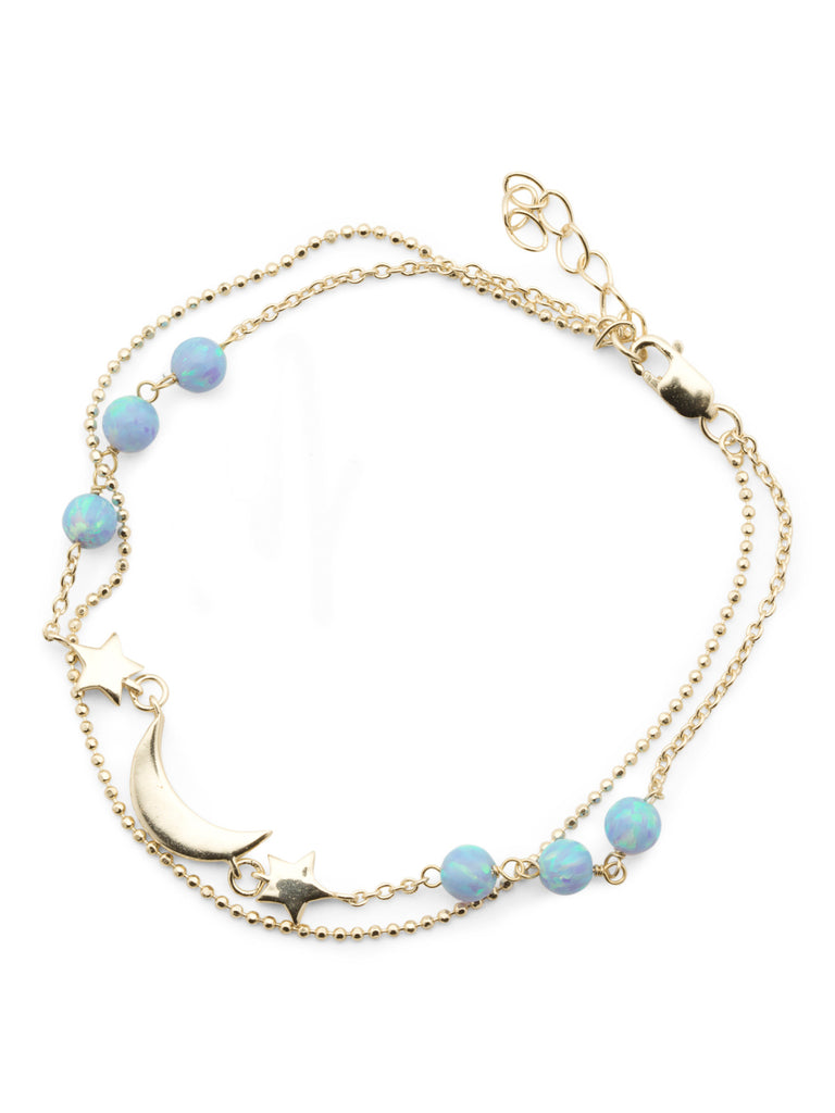 ISABELLA M Gold Plated Sterling Silver Opal Moon Double Strand Bracelet - PitaPats.com