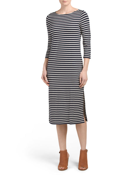 J&J Elbow Sleeve Stripe Midi Dress