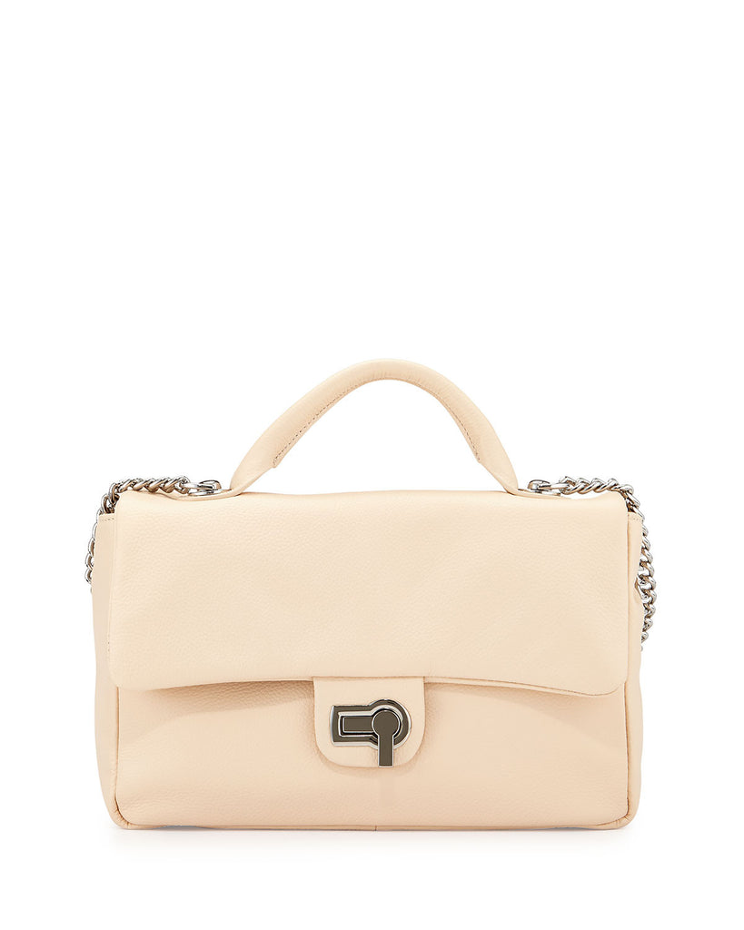 Charles Jourdan Vogue Flap-Top Leather Shoulder Bag, Cream - PitaPats.com