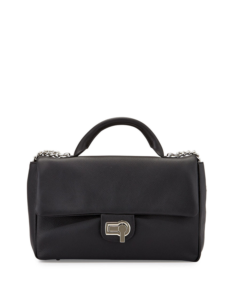Charles Jourdan Vogue Flap-Top Leather Shoulder Bag, Black - PitaPats.com