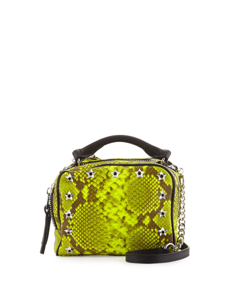 Ash Frankie Studded Leather Crossbody Bag, Yellow Snake - PitaPats.com