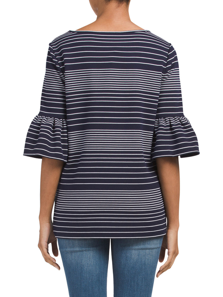 MAX STUDIO Striped Pique Bell Sleeve Top - PitaPats.com