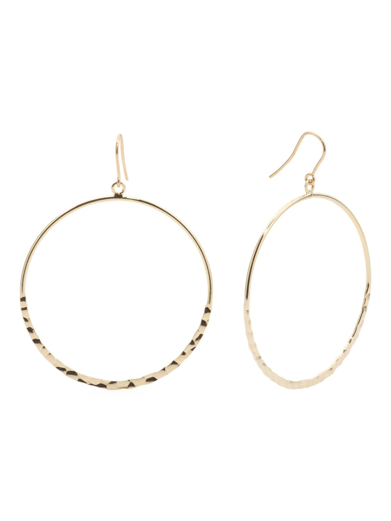 MIA FIORE Made In Italy Gold Plated Silver Hammered Circle Earrings - PitaPats.com