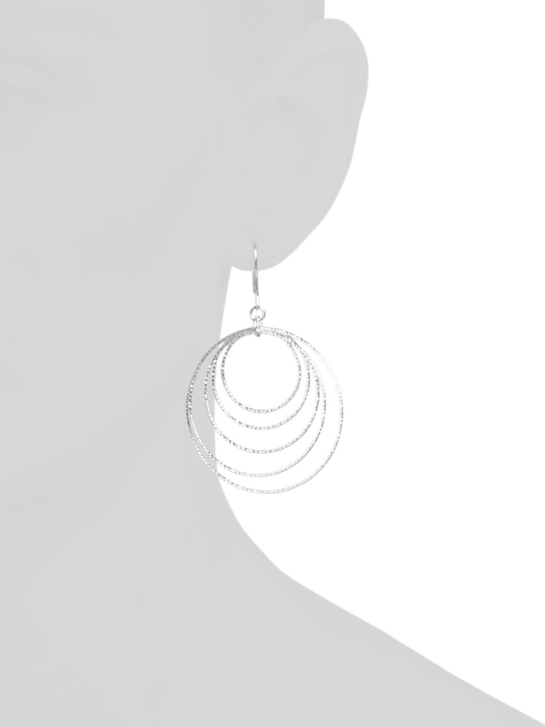 MIA FIORE Made In Italy Sterling Silver 5 Circle Diamond Cut Earrings - PitaPats.com