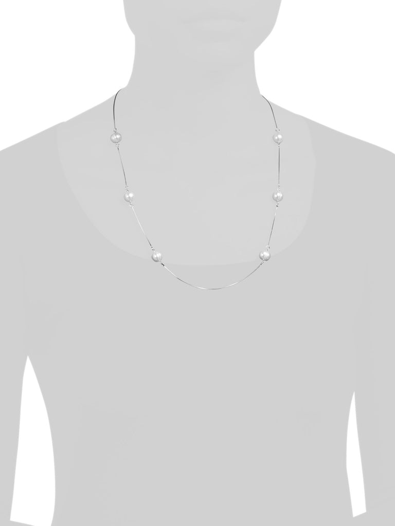 MILOR Made In Italy Sterling Silver Pearl Station Necklace - PitaPats.com
