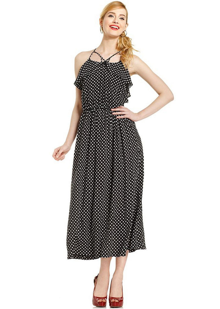 Marilyn Monroe Juniors Dress, Halter Polka-Dot Midi