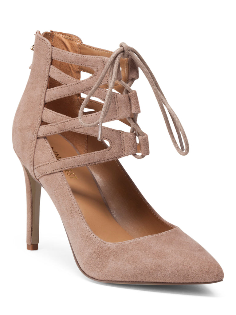 NINE WEST Lace Up Pointy Suede Pumps - PitaPats.com