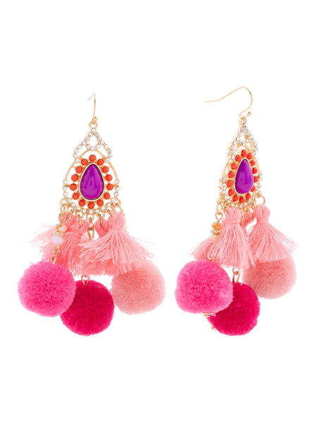 NOIR Pom Pom Chandelier Pink Earrings