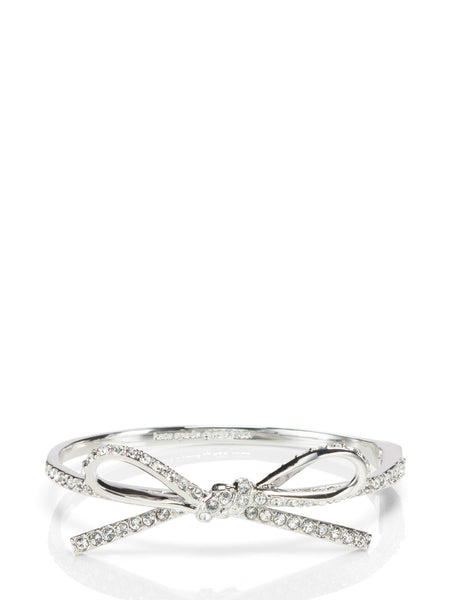 Kate Spade skinny mini pave bow bangle Bracelet - Silver - PitaPats.com