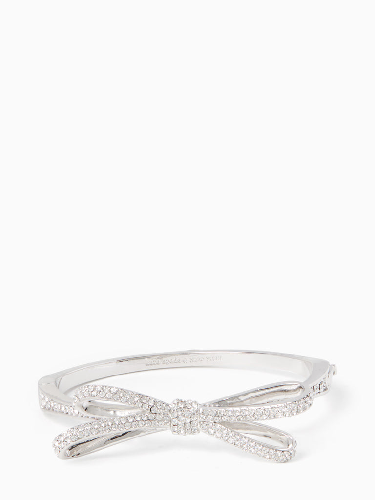 Kate Spade tied up pave hinge bangle - silver - PitaPats.com