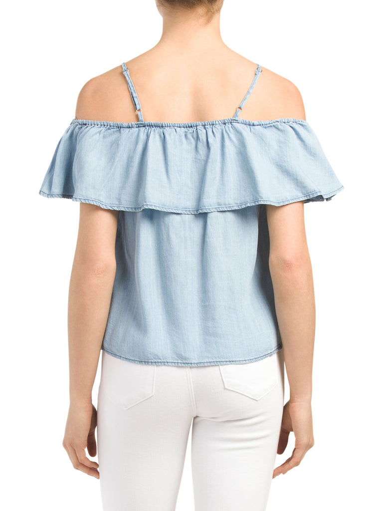 PAPERCRANE Juniors Cold Shoulder Chambray Top - PitaPats.com