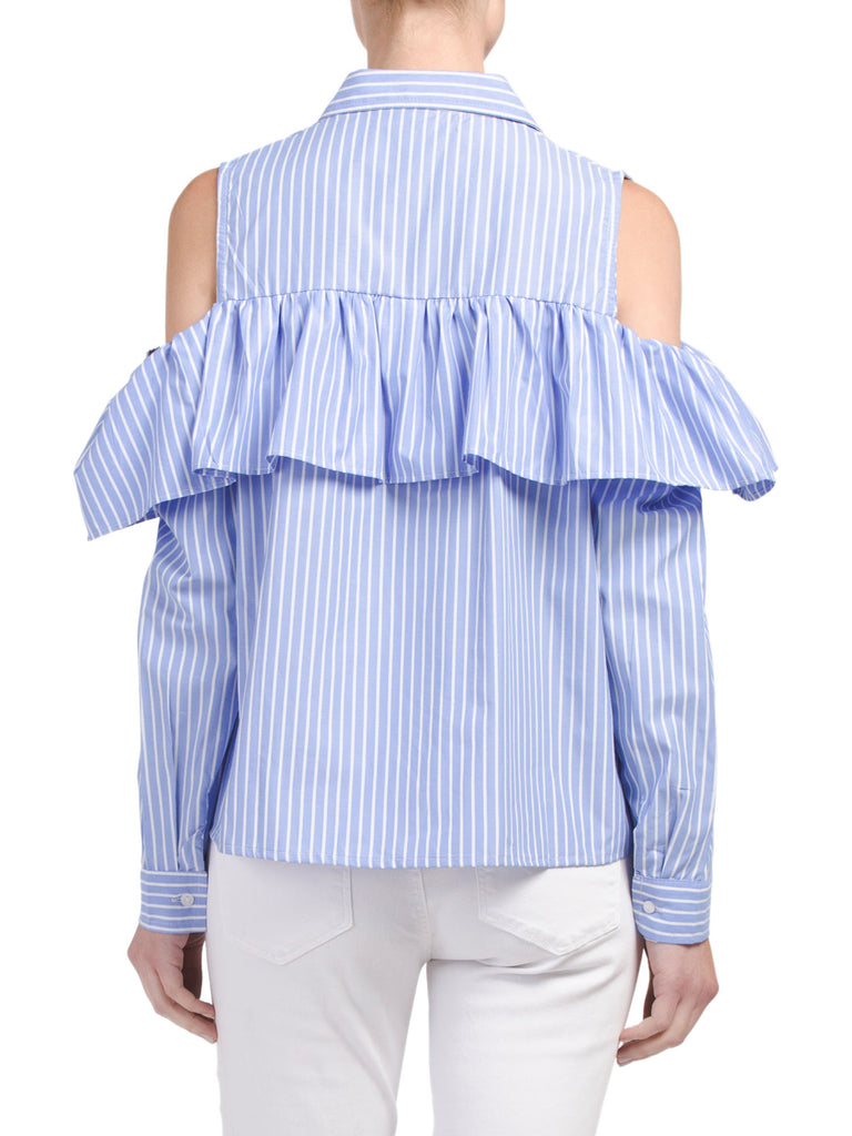 SONG OF STYLE Cold Shoulder Flounce Shirt