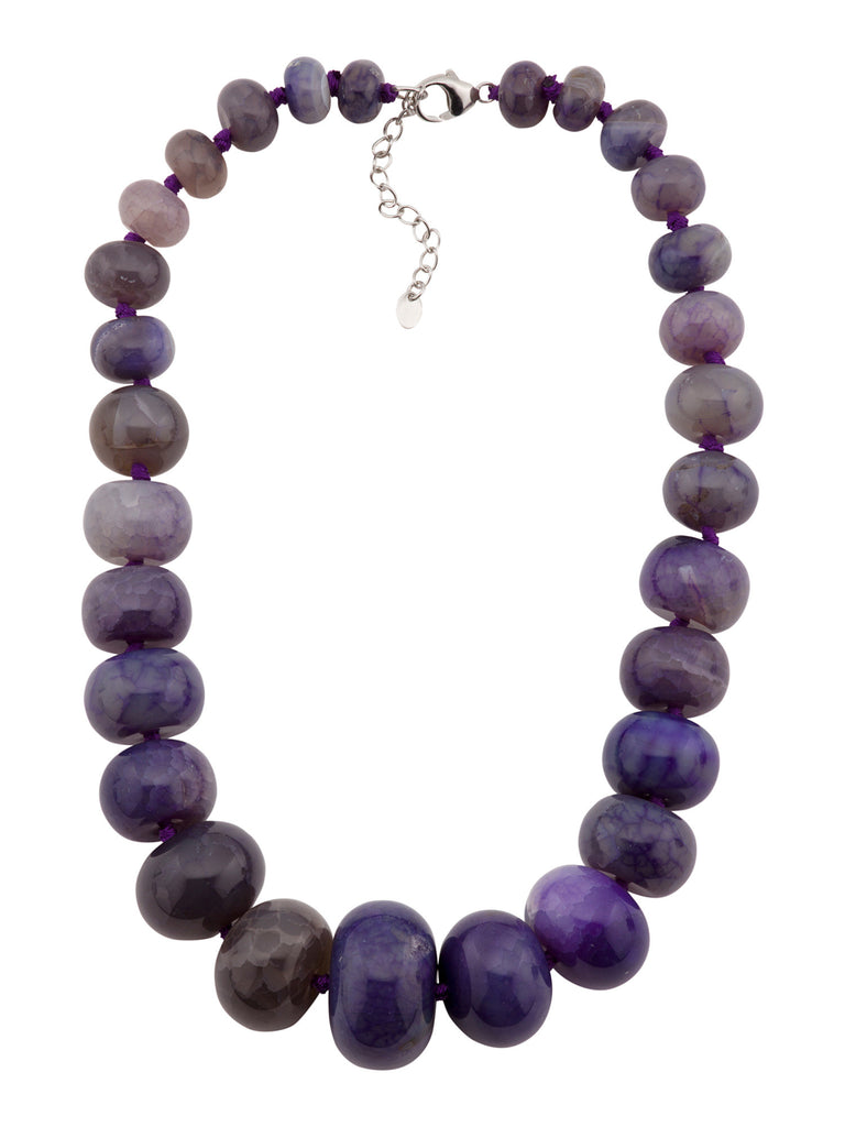 SPRIG Sterling Silver Purple Quartz Gumball Graduated Necklace