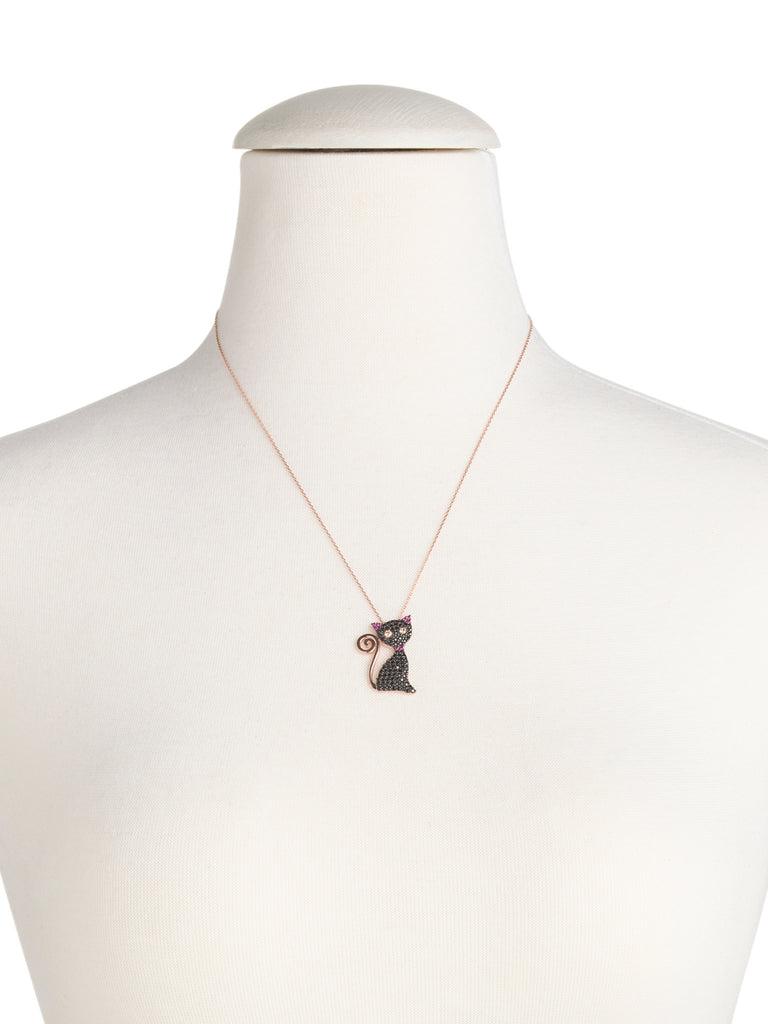 SULTAN COLLECTION Made In Turkey Sterling Silver Black Cubic Zirconia Cat Necklace