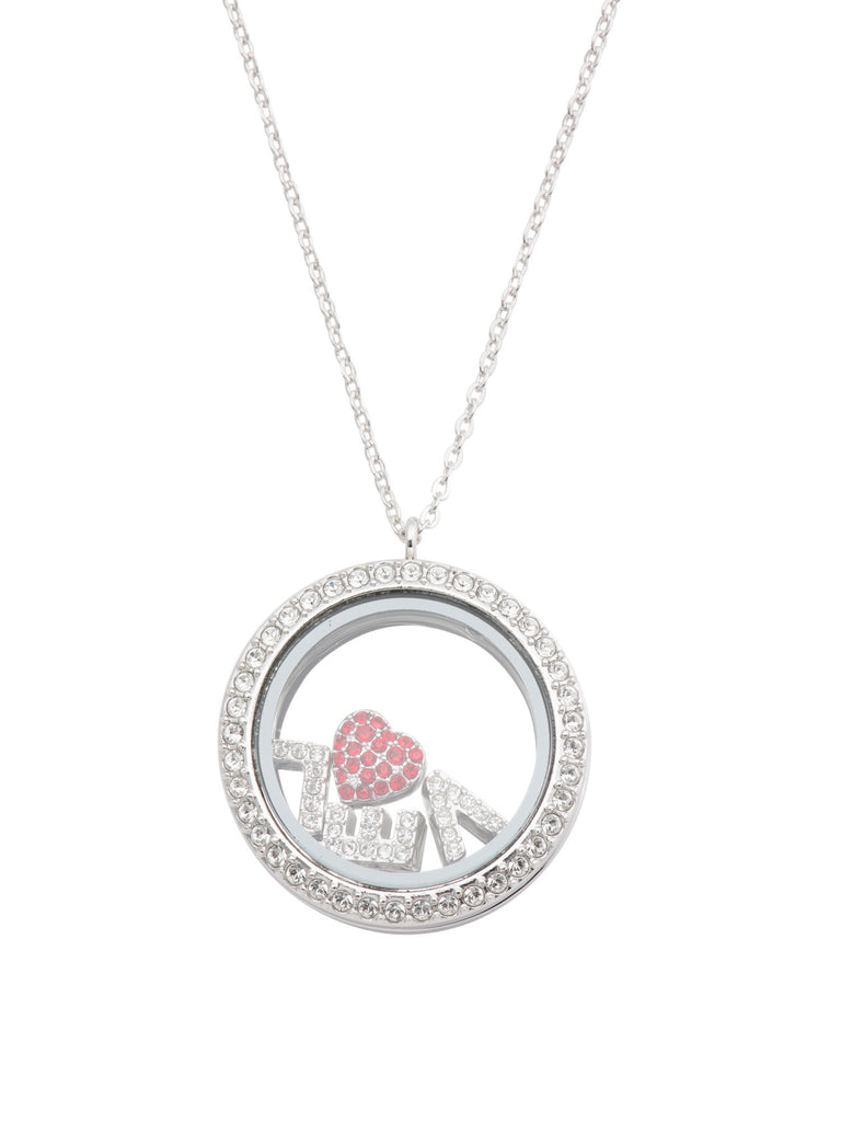 SWAROVSKI Made In Austria Treasure Crystal Pave Love Locket Necklace