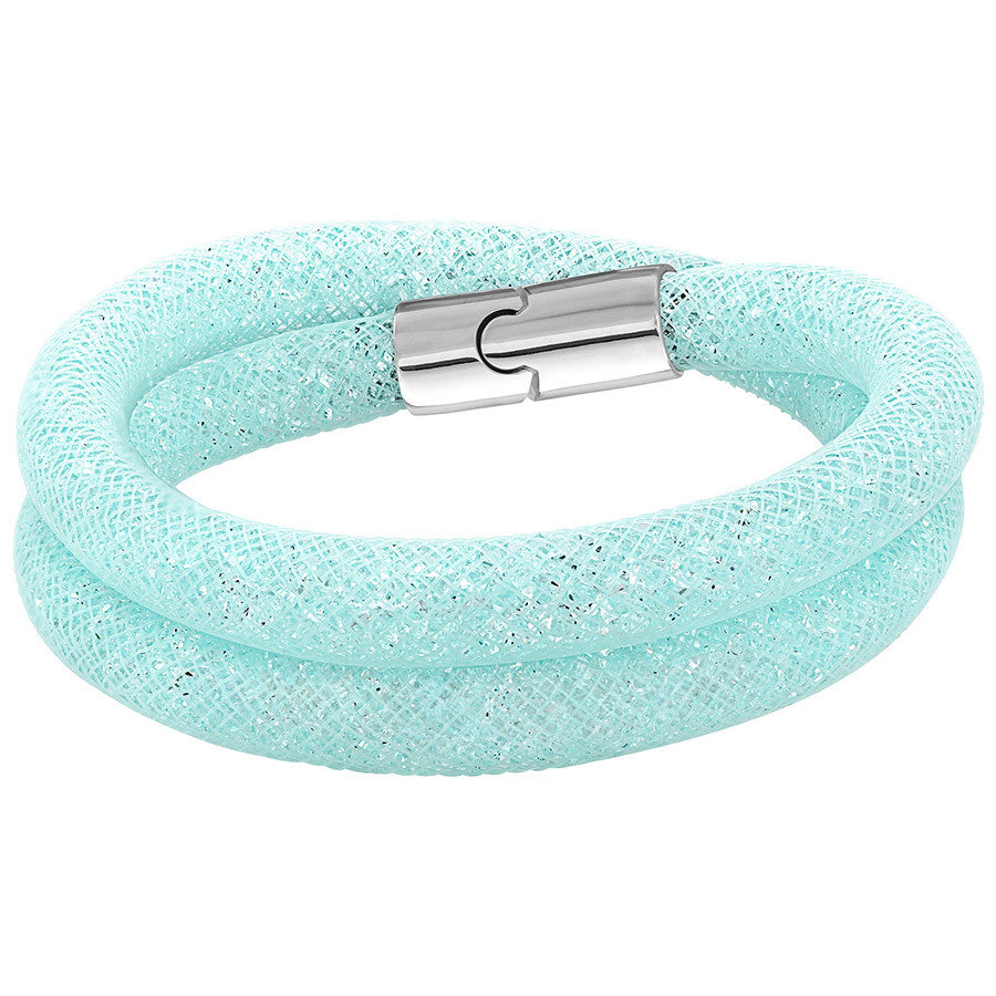 Swarovski Stardust Light Blue Double Bracelet (M: 15 5/8 inches) - PitaPats.com