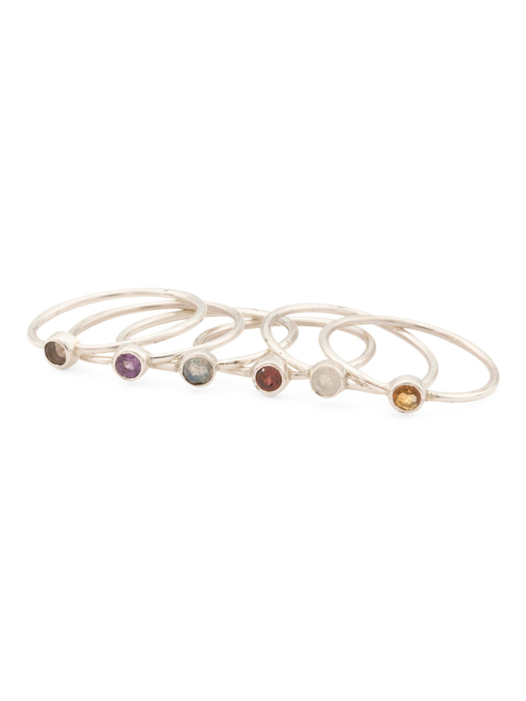 TEOCALLI Made In India Sterling Silver Multi Gemstone 6 Stack Ring - PitaPats.com