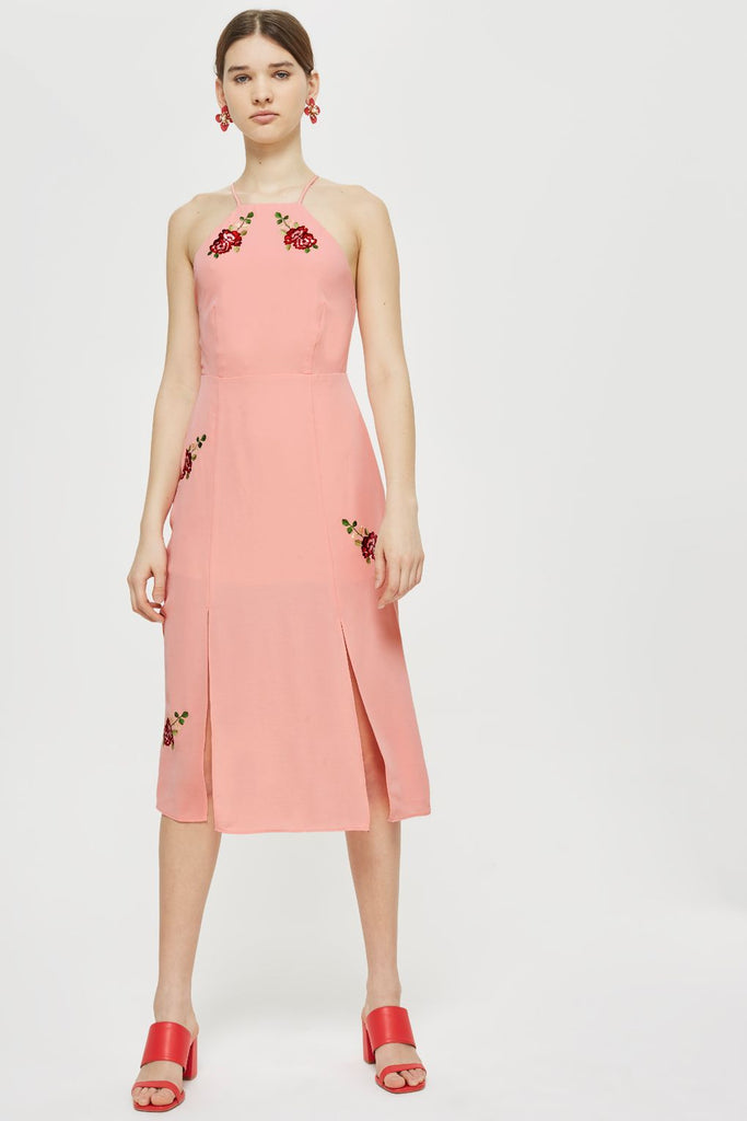TOPSHOP Embroidered Midi Slip dress - PitaPats.com