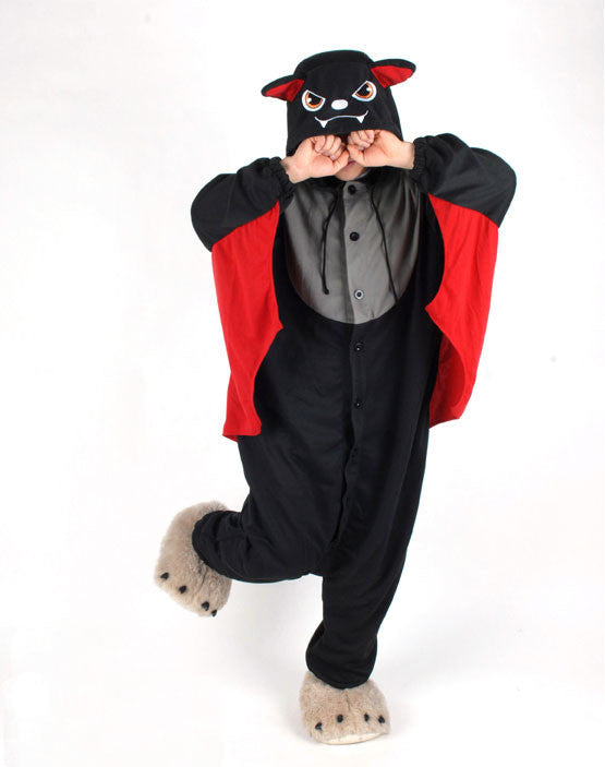 PITaPATs kids onesie animal jumpsuit costume - long sleeve red bat