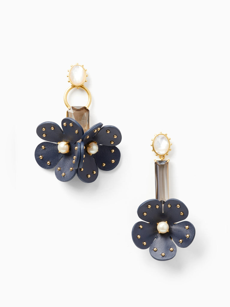kate spade new york blooming bling leather asymmetrical earrings pearl navy