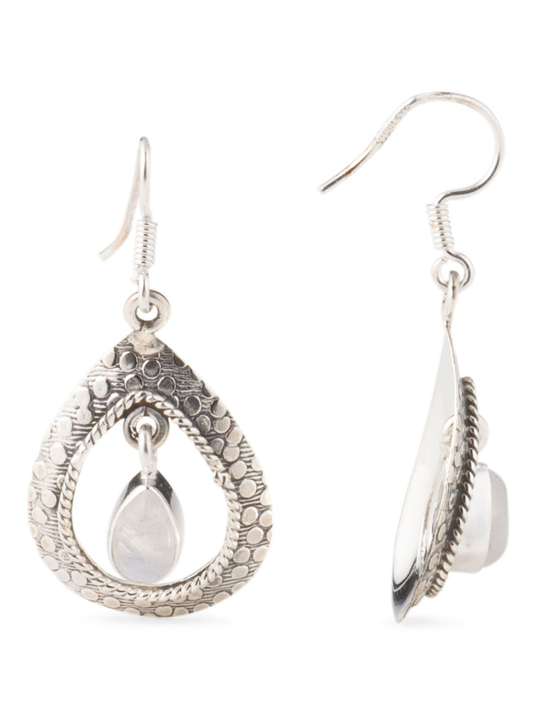 YS Made In India Sterling Silver And Rainbow Moonstone Earrings - PitaPats.com
