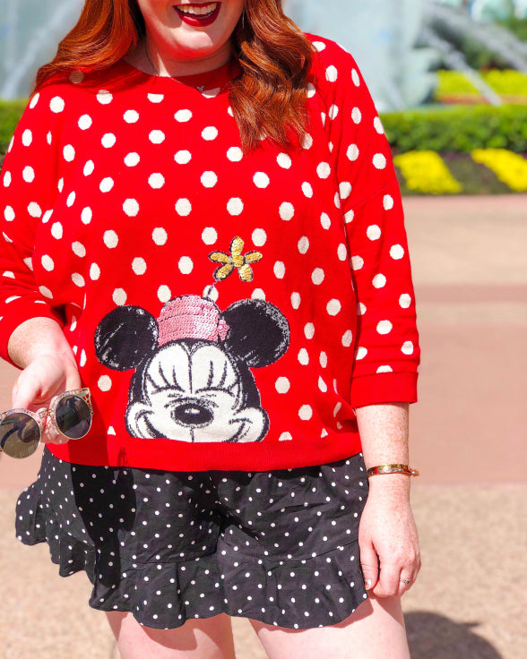 Disney Collection x Cath Kidston Button Spot  Minnie Mouse Polka Dot Jumper Sweater