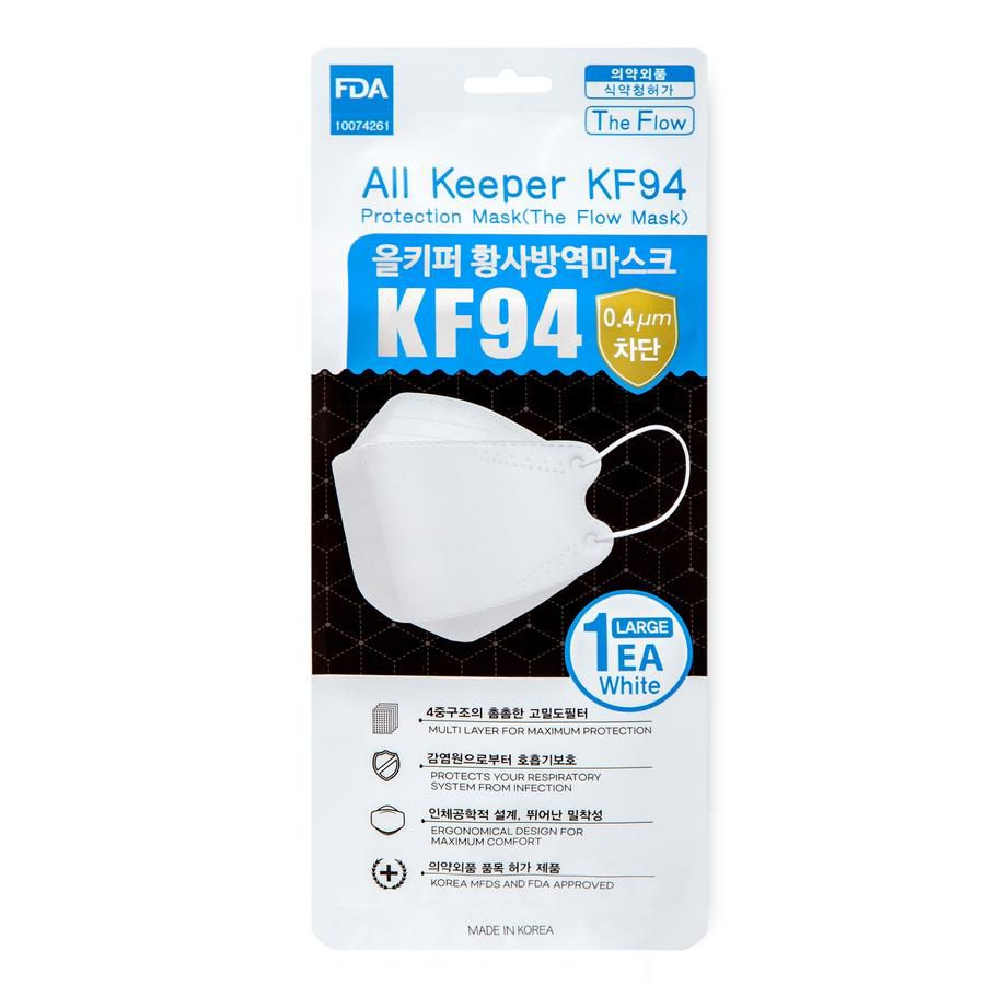 ALL KEEPER PROTECTION CLEANJOY MICRODUST KF94 MASK MADE IN KOREA 5PKS - WHITE