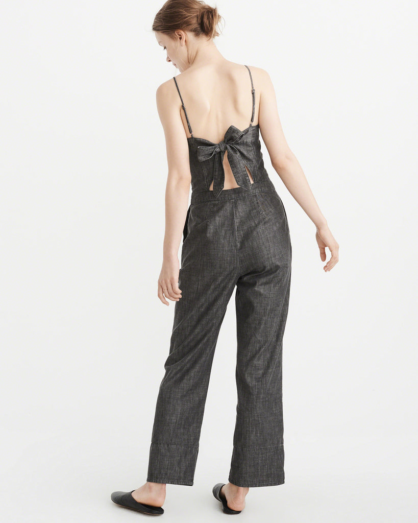 Abercrombie & Fitch BOW-BACK DENIM JUMPSUIT - PitaPats.com