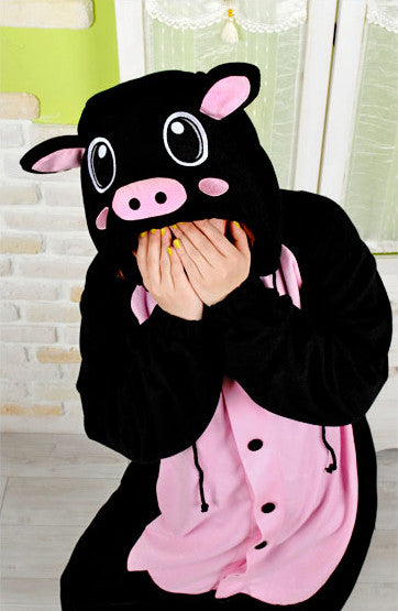 PITaPATs onesie animal jumpsuit costume - long sleeve black pig
