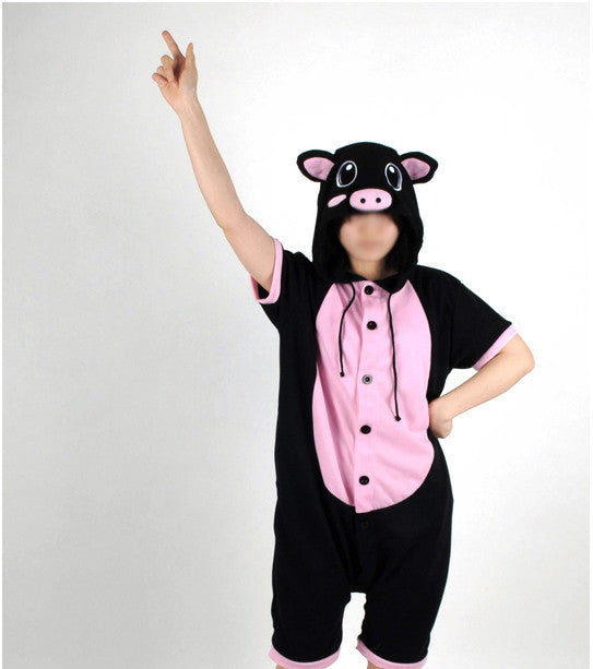PITaPATs onesie animal jumpsuit costume - short sleeve black pig