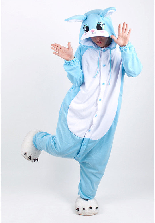 PITaPATs onesie animal jumpsuit costume - long sleeve blue rabbit