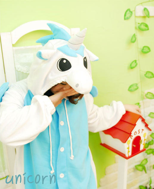 PITaPATs kids onesie animal jumpsuit costume - long sleeve blue unicorn - PitaPats.com