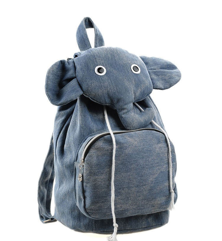 Denim Elephant Backpack For Kids - Blue - PitaPats.com