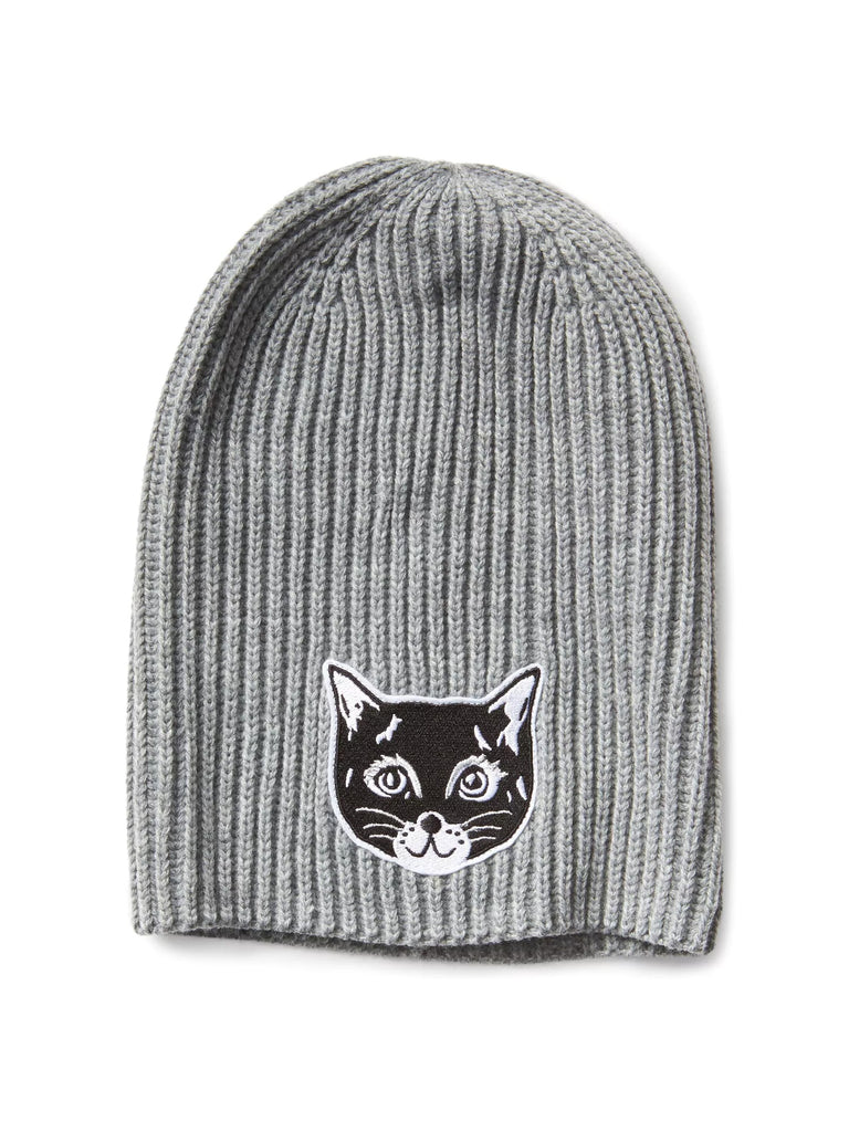Animal graphic beanie grey cat - PitaPats.com