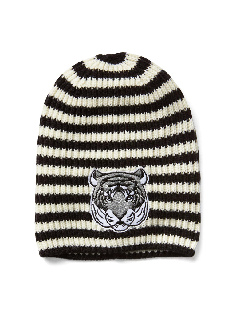 Animal graphic beanie - black stripe tiger - PitaPats.com