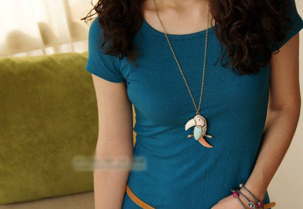Toucan Bird Rhinestone Long Necklace - PitaPats.com