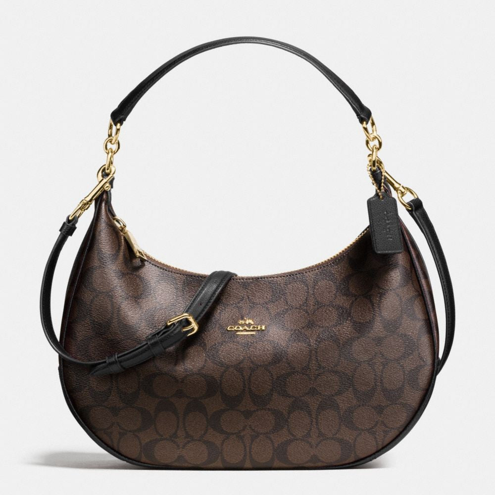 COACH HARLEY EAST/WEST HOBO IN SIGNATURE - GOLD/BROWN/BLACK color - PitaPats.com