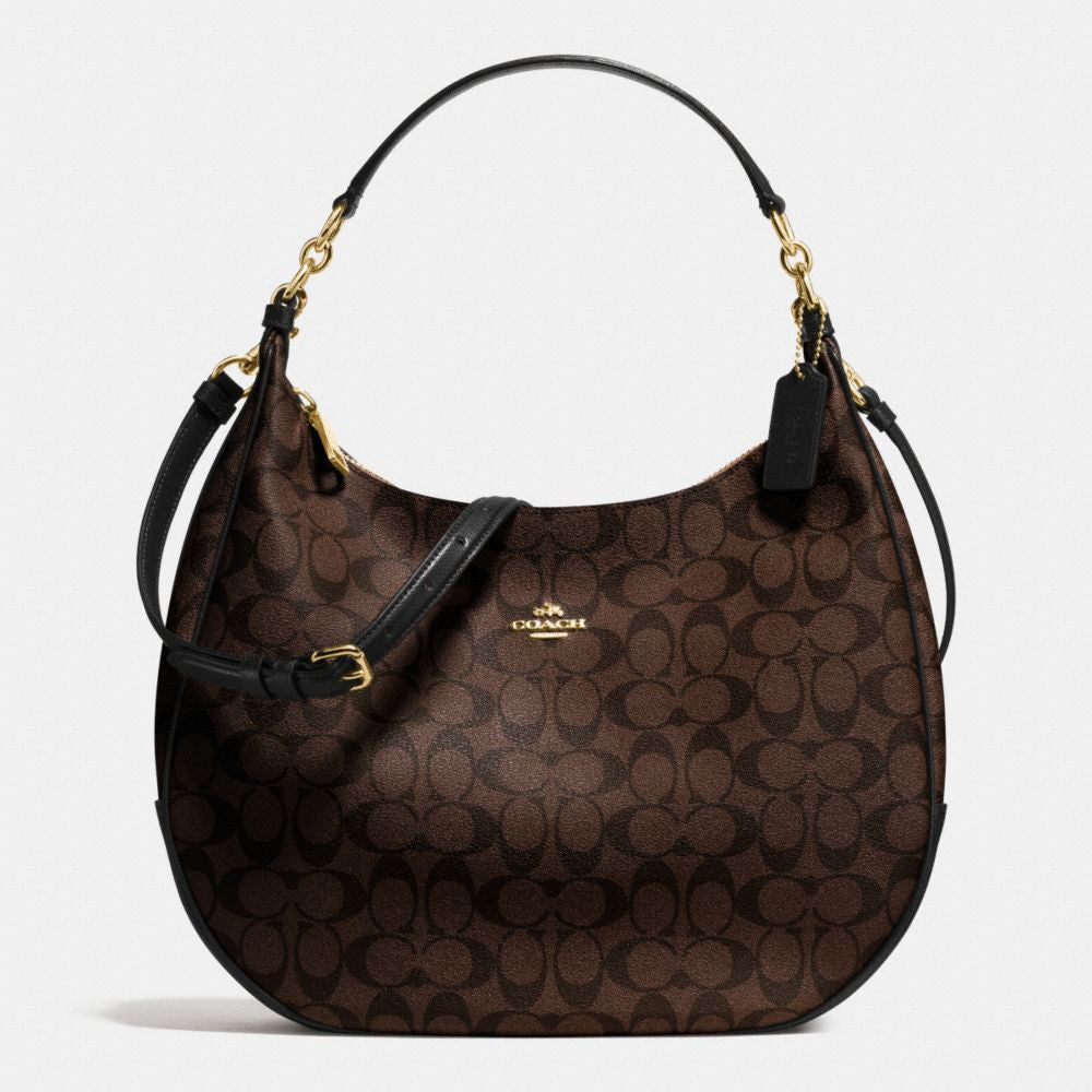 COACH HARLEY HOBO IN SIGNATURE - GOLD/BROWN/BLACK color - PitaPats.com