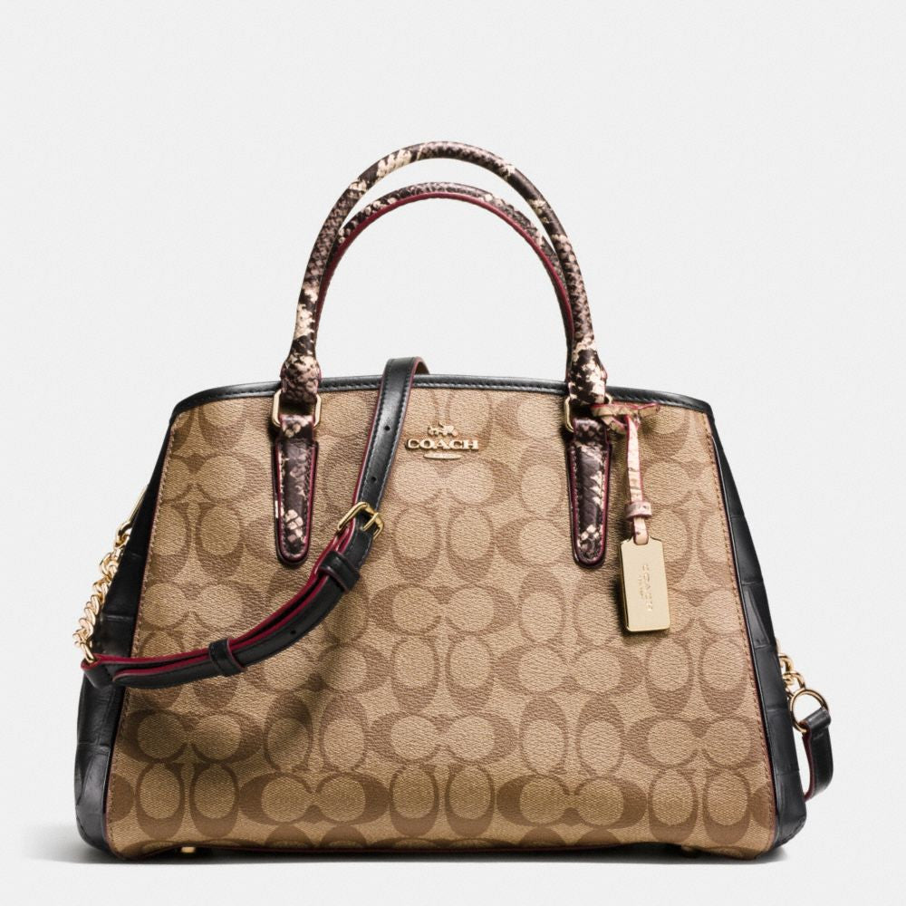 Coach Small Margot Carryall In Signature Coated Canvas And Exotic Bags
