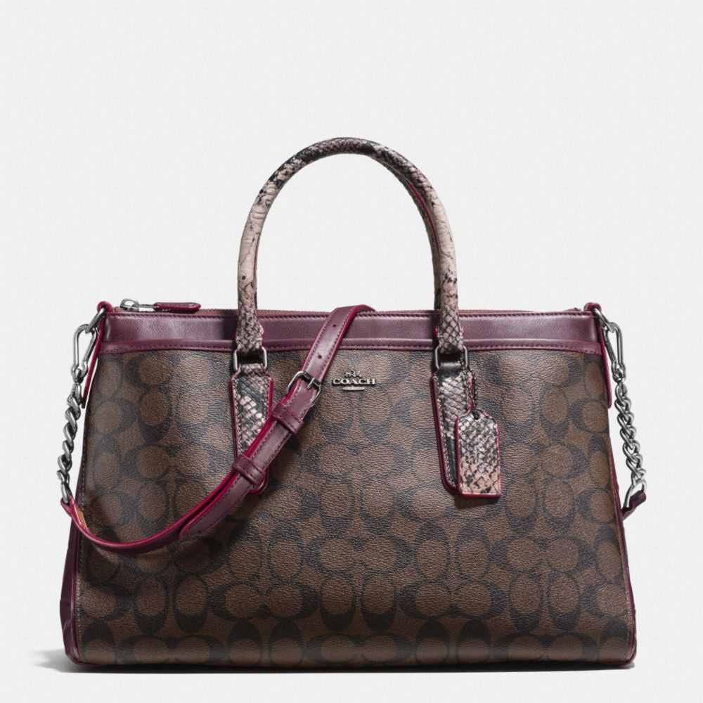 COACH MORGAN SATCHEL IN SIGNATURE WITH EXOTIC MIX TRIM - PitaPats.com