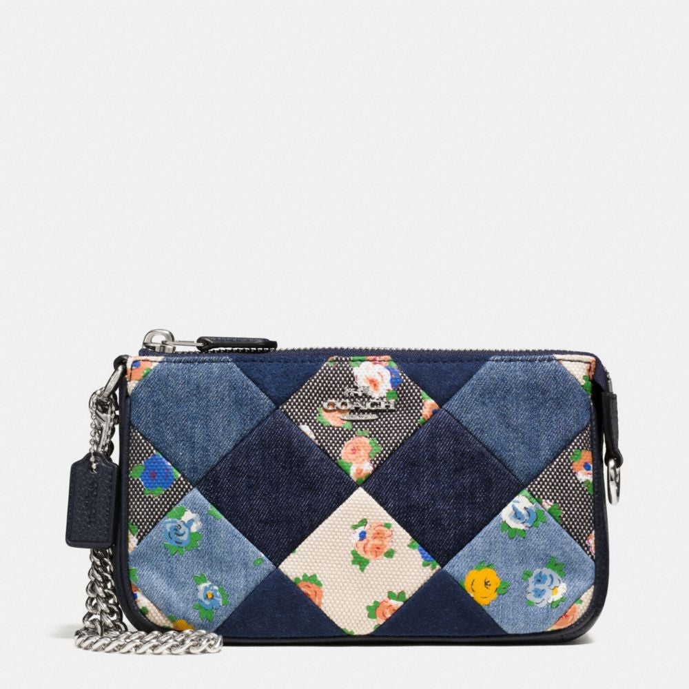 COACH LARGE WRISTLET 19 IN DENIM PATCHWORK - PitaPats.com