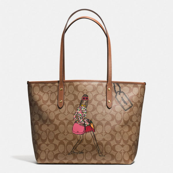 COACH BONNIE CASHIN CITY ZIP TOTE IN SIGNATURE COATED CANVAS