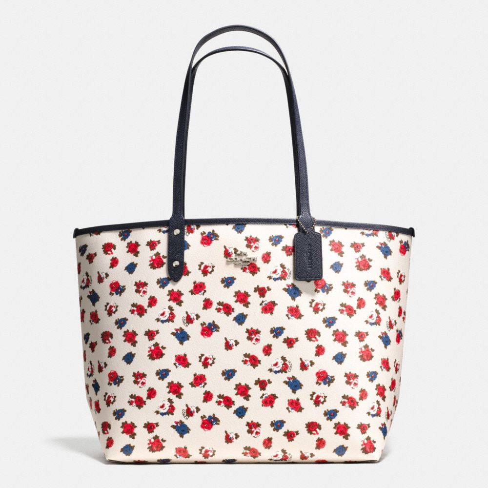 COACH REVERSIBLE CITY TOTE IN TEA ROSE FLORAL PRINT COATED CANVAS - PitaPats.com