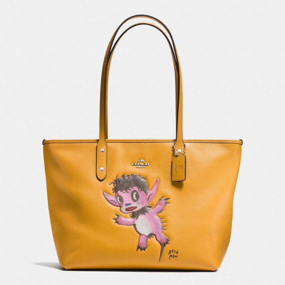 COACH BASEMAN X COACH BUDDY BOY CITY ZIP TOTE IN PEBBLE LEATHER - PitaPats.com