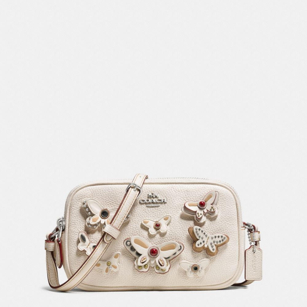 COACH CROSSBODY POUCH IN PEBBLE LEATHER WITH BUTTERFLY APPLIQUE - PitaPats.com