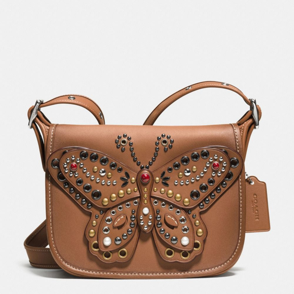 COACH PATRICIA SADDLE BAG 23 IN GLOVE CALF LEATHER WITH BUTTERFLY STUD