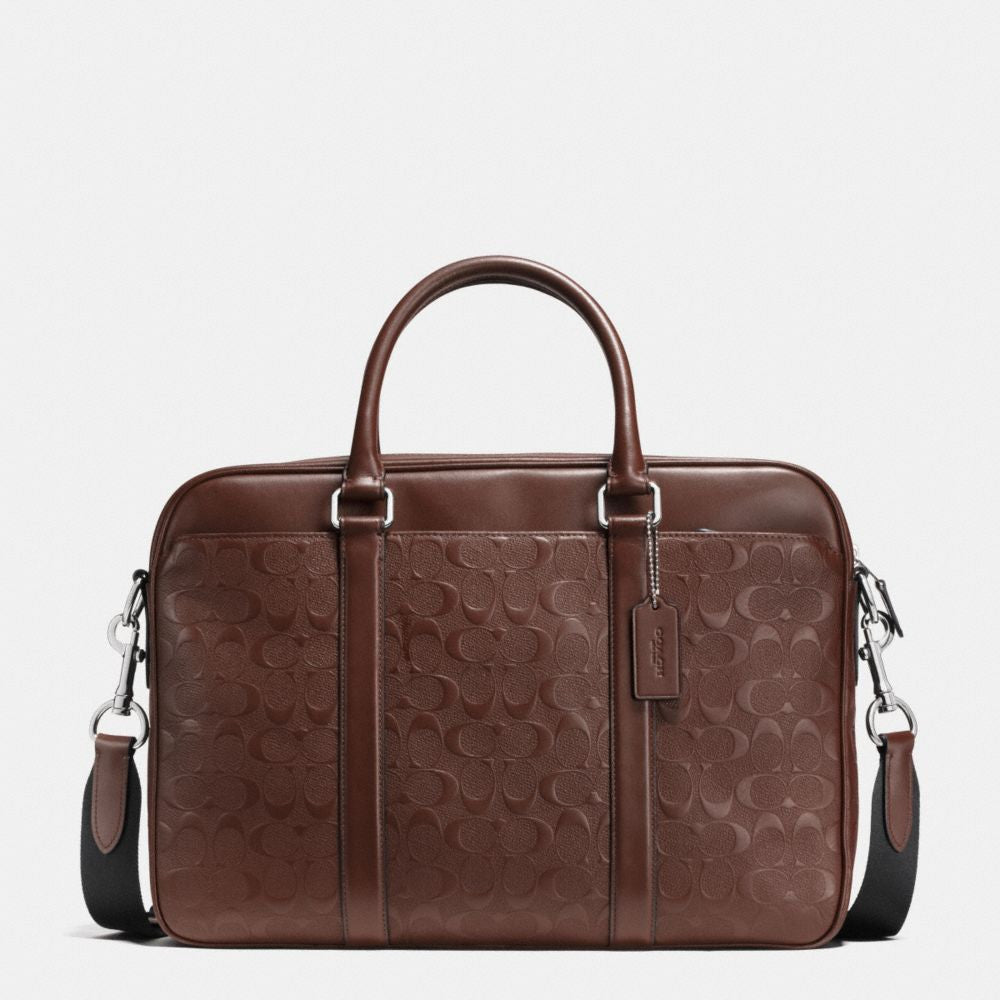 Coach PERRY COMPACT BRIEF IN SIGNATURE CROSSGRAIN LEATHER - PitaPats.com