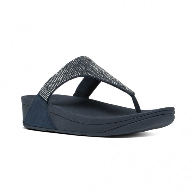 FITFLOP™ SLINKY ROKKIT™ Ladies Leather Toe Post Sandals Supernavy - PitaPats.com