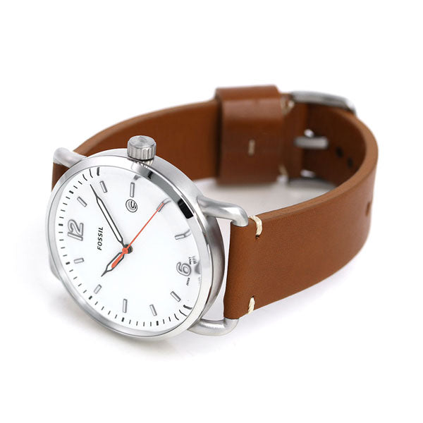 FOSSIL THE COMMUTER THREE-HAND DATE LIGHT BROWN LEATHER WATCH - PitaPats.com